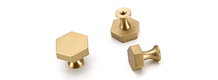 Wholesale Furniture Hardware Accessory Polygon Brass Drawer Wardrobe Cabinet Pull Handle Knobs
