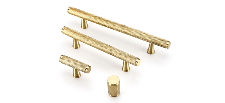 Knurled Texture T Bar Bedroom Cupboard Handle Pull Solid Brass Cabinet Door Handles